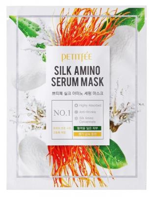 Тканевая маска с аминокислотами шелка PETITFEE Silk amino serum mask 25г: фото