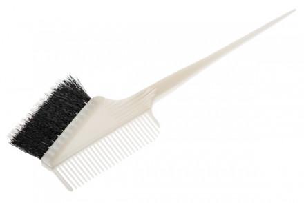 Кисть для окрашивания волос с расчёской с комбинированной щетиной Harizma Professional белая: фото