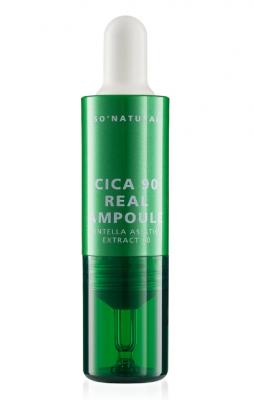 Сыворотка для лица с экстрактом центеллы 90% So'Natural Cica 90 real ampoule 10мл: фото
