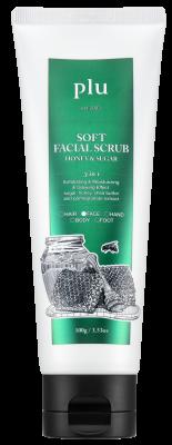 Скраб для лица увлажняющий с медом PLU Soft facial scrub honey & sugar 100г: фото